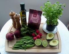 Ingredienser til quinoa-salat