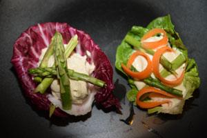 humus med asparges og salat